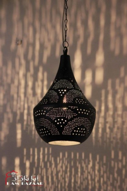 Design hanglamp Nahlaa zwart met waaien patroon (M)