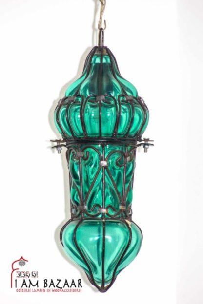 Hanglamp groen glas met metaal