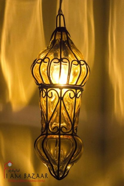 Hanglamp geel glas met metaal